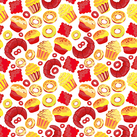 baked goods: Vector food bakery seamless pattern with baked goods. Flour products from pastry shop. Illustration for print, web. Original design element. Bright red yellow colors. Illustration