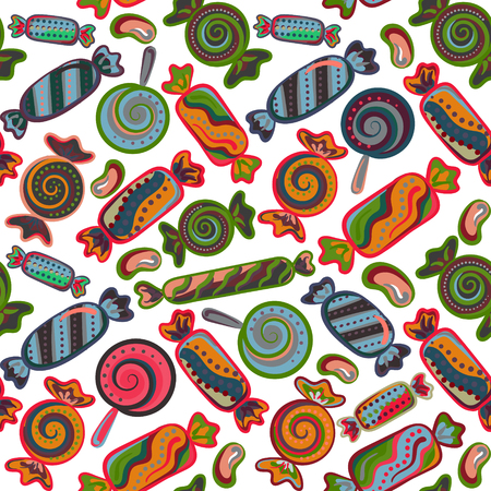 yummy: Yummy colorful sweet lollipop candy cane seamless pattern Illustration