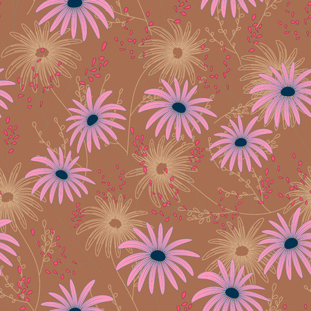 daisy pink: Floral seamless pattern with delicate flowers, hand-drawing. Vector illustration. Daisy Themed Repeating Pattern. Pink on beige.