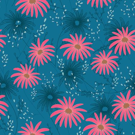 섬세 한 꽃, 핸드 드로잉 꽃 원활한 패턴. 벡터 일러스트 레이 션. 데이지 테마 반복 패턴입니다. 파란색에 분홍색. 일러스트