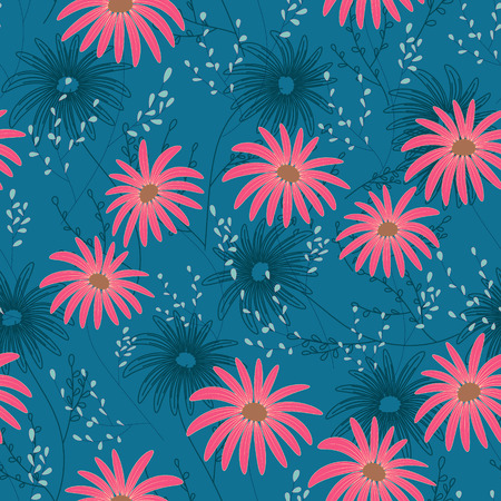 Floral seamless pattern with delicate flowers, hand-drawing. Vector illustration. Daisy Themed Repeating Pattern. Pink on blue.