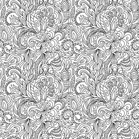 Seamless pattern for coloring book.  Ethnic, floral, retro, doodle, vector, tribal design element. Black and white  background. Good for coloring book for adult and older children. Coloring page. Vettoriali