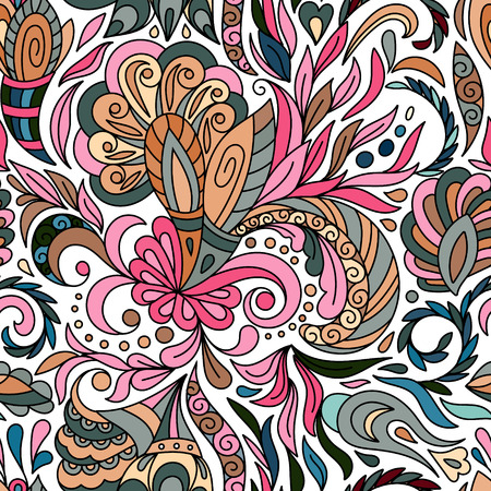 biege: Beautiful floral paisley seamless pattern. Pastel biege blue pink background.