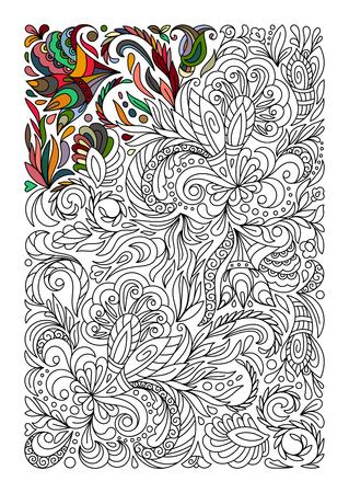 Tnica Zentangle Floral Coloreado, Arte Del Rectángulo Del Fondo Del ...