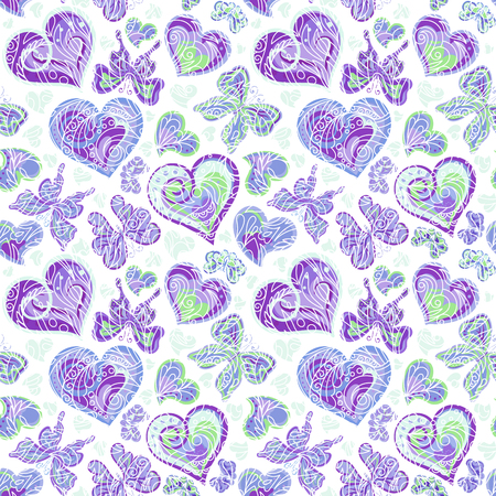 purple wallpaper: Seamless pattern with colorful vintage blue butterflies, flowers and hearts on white background. Vector illustration Illustration