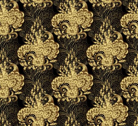 Abbildung golden seamless floral Hintergrund, Muster für kontinuierliche Replikation - Vektor. Gold auf Schwarz.