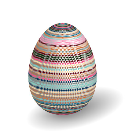 adorned: White Single Vector Easter Egg with Abstract Colorful Pattern - Beautiful Close Up Design with Smooth Shadow on the Ground. Illustration