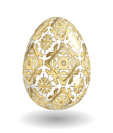 smooth shadow: White Single Vector Easter Egg with Abstract Colorful Pattern - Beautiful Close Up Design with Smooth Shadow on the Ground. Golden ornament on white egg.