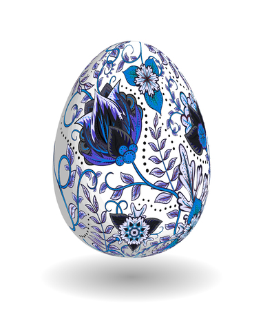 Gold egg with hand draw floral ornate isolated on white background. Fantasy dark blue gray flowers on white egg.