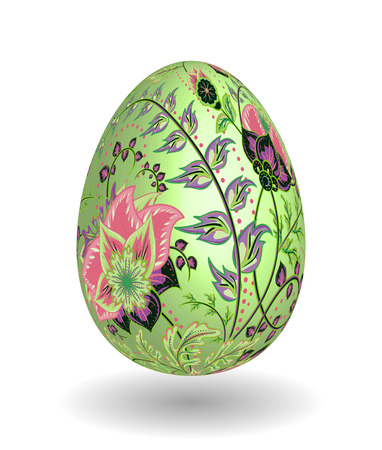 Gold egg with hand draw floral ornate isolated on white background. Fantasy pink gray  flowers on green egg.