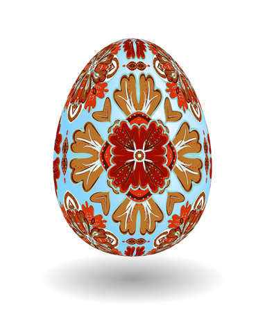 smooth shadow: White Single Vector Easter Egg with Abstract Colorful Pattern - Beautiful Close Up Design with Smooth Shadow on the Ground. Gold brown ornament on blue egg.