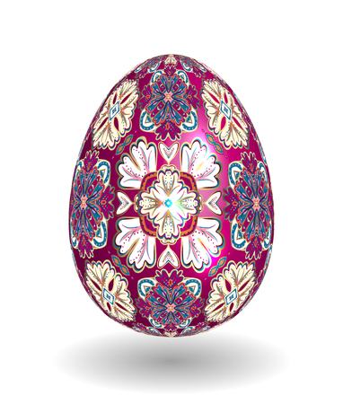 smooth shadow: White Single Vector Easter Egg with Abstract Colorful Pattern - Beautiful Close Up Design with Smooth Shadow on the Ground. Gold vineus ornament on purple egg. Illustration