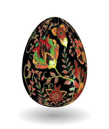khokhloma: Gold egg with hand draw floral ornate isolated on white background. Fantasy colorful and gold flowers on black egg. Khokhloma. Illustration