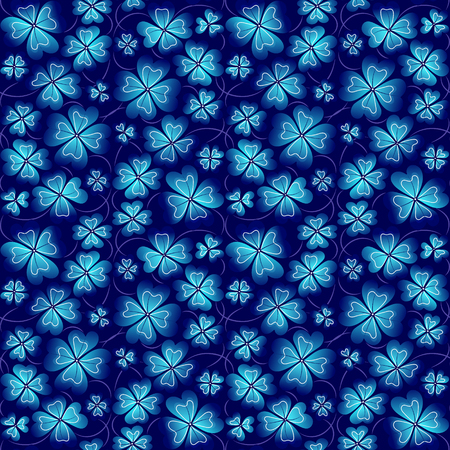 patrick backdrop: Vector illustrations of  seamless pattern of meadow clover blue leaves on bright blue background