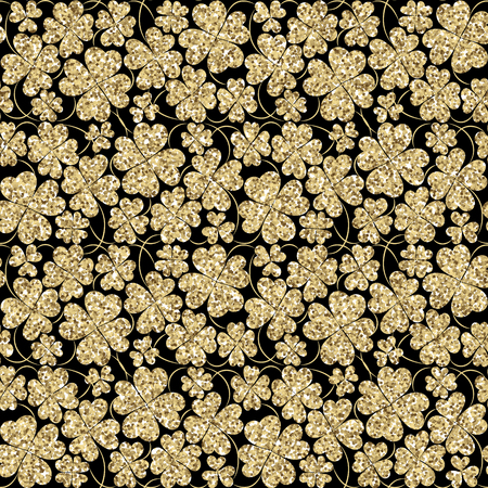 three leaf: Trendy glitter gold and black seamless vector pattern with three leaf clover for fabric, cards, invitations, wrapping paper, stationery and web backgrounds