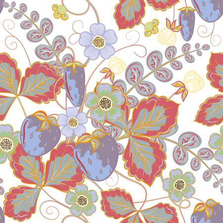 wild strawberry: Pastel seamless pattern with a strawberry, leaves and flowers (vector)