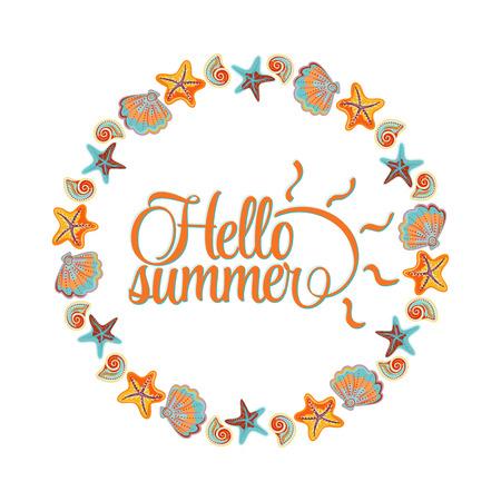 marine: round ornament made of shells, frame made of shells, marine ornament. Hello summer lettering card. Blue orange colors.