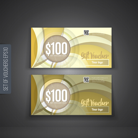 certificate template: Voucher, Gift certificate, Coupon template. Illustration