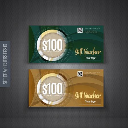 fluted: Vector illustration,Gift voucher template with clean and modern pattern. Illustration