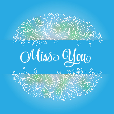i miss you: Vector flower wreath of succulents in a watercolor style with sign I miss you.