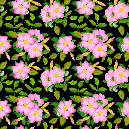 displaying: Vector seamless pattern displaying bold flowers.
