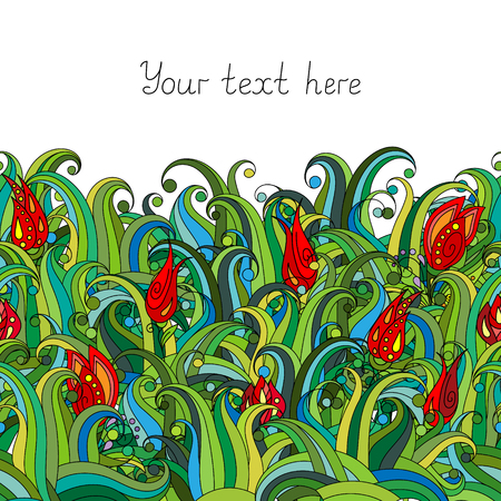 bottom line: Doodle flower and grass seamless border pattern. May be used like an Invitation card design. Vector stock illustration. Illustration