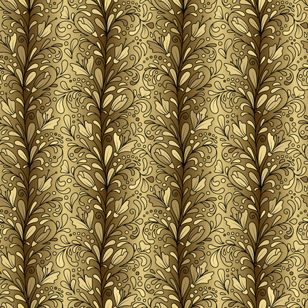 gold ornaments: Colorful hand drawn vector seamless floral pattern with golden flowers and leaves on gold background. Doodle. Original striped pattern.