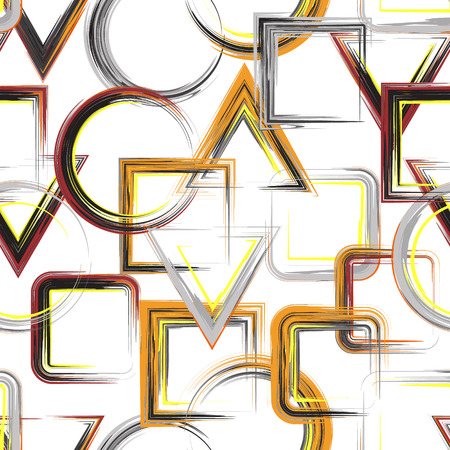 striped band: Vector geometric pattern. Abstract geometric pattern background with brash painted squares triangle circle