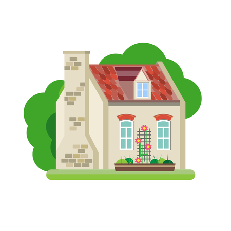 mansard: Vector illustration of cute colorful house. Vector flat buildings illustration
