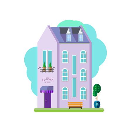 mansard: Vector illustration of cute colorful house. Vector flat buildings illustration