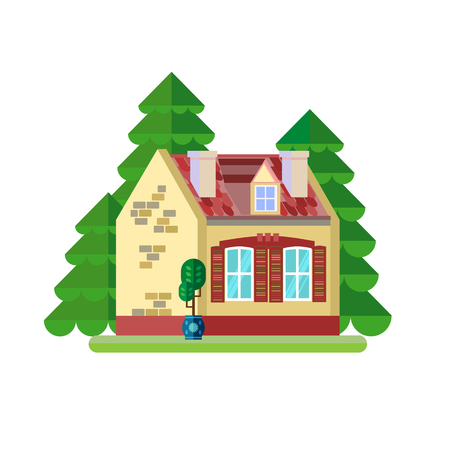 landscape architecture: Vector illustration of cute colorful house. Vector flat buildings illustration