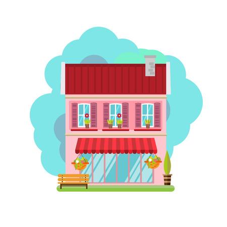 investment real state: Ilustración vectorial de casa colorida linda. Vector ilustración de edificios planas Vectores
