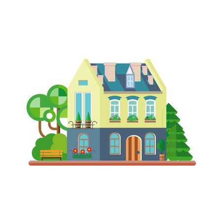 investment real state: Ilustraci�n vectorial de casa colorida linda. Vector ilustraci�n de edificios planas Vectores