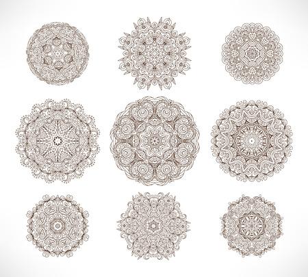 bangles hand: Set of nine ornate circle (mandala) - traditional indian tattoo henna design. Mehendi vector in ethnic style Illustration
