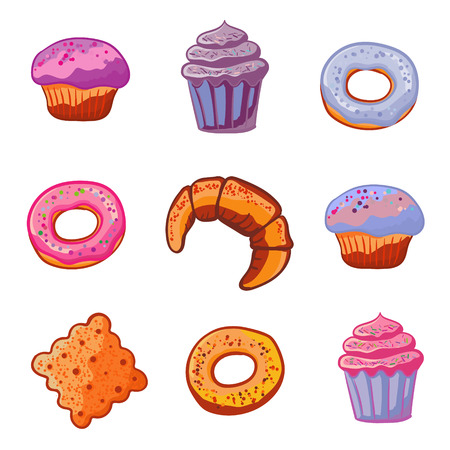 tea basket: Set of sweets baking products. Dessert icons flat style Muffin, donut, macaroon, ice cream, dessert, croissant, cookie on a white background Vector illustration