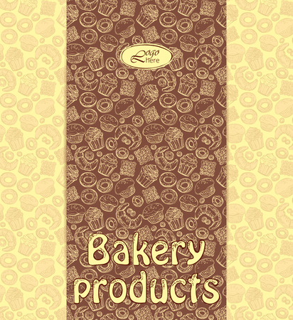 Bakery menu or packaging template with sweet dessert objects. Abstract background with tasty gourmet items. For wallpaper and wrapping paper. Food vector design illustration. Pastry. Illustration