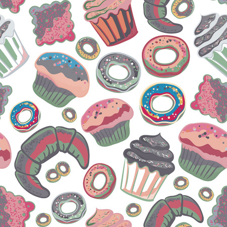baked goods: Vector food bakery seamless pattern with baked goods. Flour products from pastry shop. Illustration for print, web. Original design element. Pink gray colors.