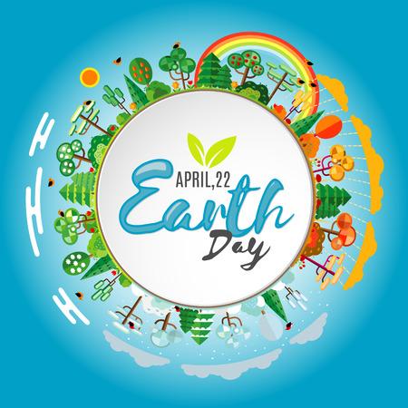 Tag der Erde. Eco freundliche Ökologie-Konzept. Wohnung Vektor-Illustration