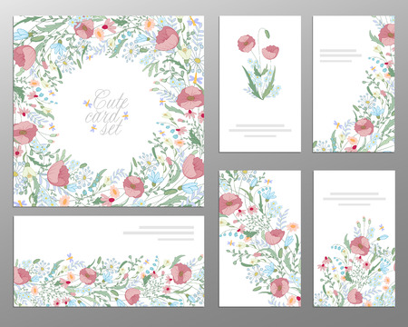 buisiness: Set of hand draw floral card. Wedding invitation, thank you card, save the date card, buisiness card. Wedding set.