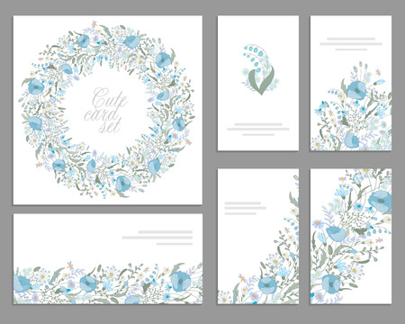 Set of templates for celebration, wedding. Blue flowers. Watercolor blue poppies, lily of the valley, daisy, snowdrop.  For romantic and wedding design, greeting cards, posters, advertisement. Vintage
