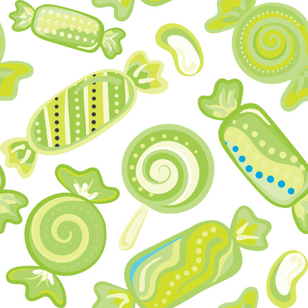 yummy: Yummy colorful sweet lollipop candy cane seamless pattern.