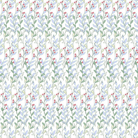 kitchen shower: Simple and cute floral seamless pattern. Branches and leaves. Vectorized watercolor drawing.