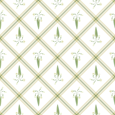 snowdrops: Vector seamless pattern with bouquet of snowdrops in square  on a white background.