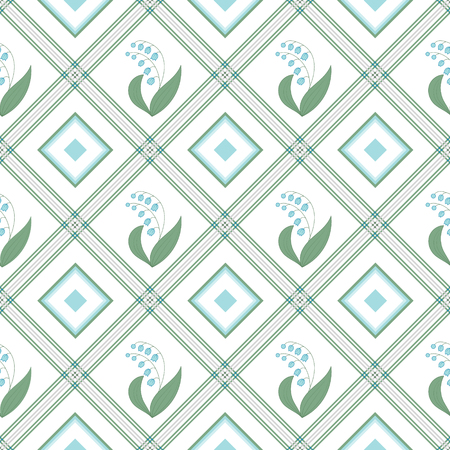 Vector seamless pattern with bouquet of cute little blue lily of the valley in square on a white background.