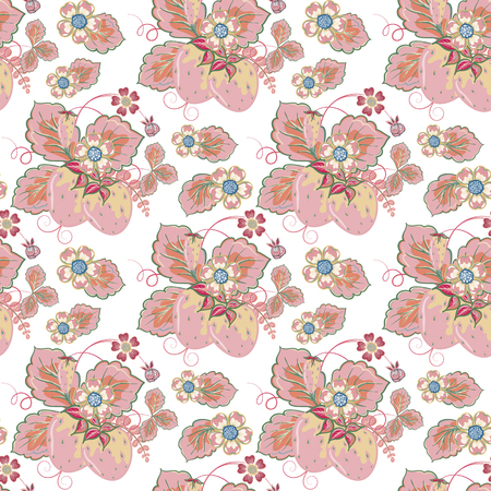 wild strawberry: Pastel pink blue brown seamless pattern with a strawberry, leaves and flowers (vector)