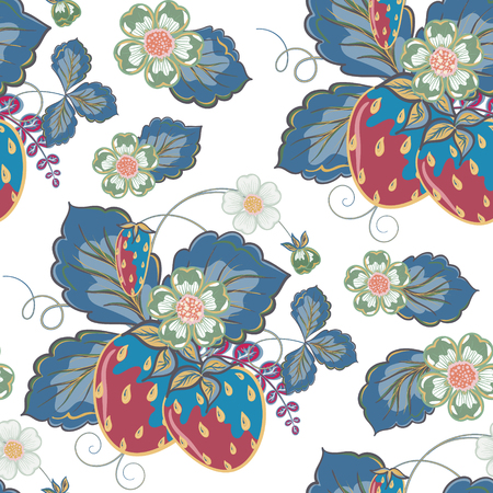 wild strawberry: Pastel pink blue brown seamless pattern with a strawberry, leaves and flowers.