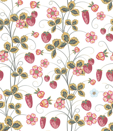 ripened: Bright seamless pattern with a strawberry, leaves and flowers.