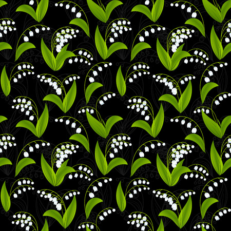 lily of the valley: Simplified image of spring flower. Lily of the valley flowers on dark background. Floral seamless texture. Illustration