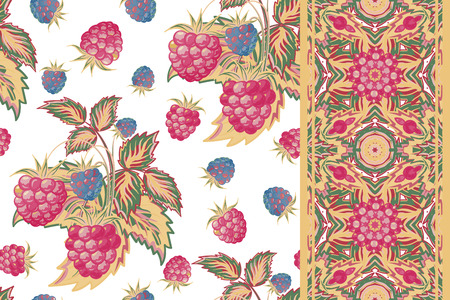 raspberry pink: Set of raspberry seamless pattern and border. Pastel summer vector background for textiles, pillow interior decoration, wrapping paper, food  drink package decoration. Illustration