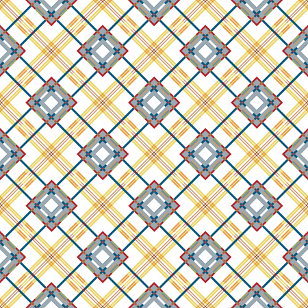 mens fashion: Vector seamless pattern. Classic stylish texture. Repeating geometric tiles with dotted rhombus. Mens fashion textile background. Blue brown backdrop. Illustration